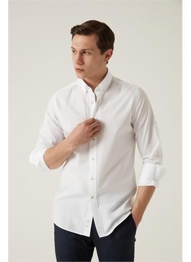 Damat Damat Slim Fit Beyaz Düz Yaka İğneli Gömlek Beyaz